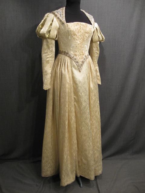 cross, period, women, s, skirt, period, renaissance, 18thc, women, w25,  cream, gold, heart, cartridge, pleated, waist, good, brocade - OSF Costume  Rentals